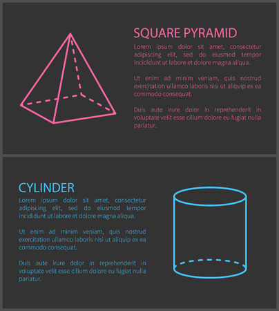 Square pyramid and cylinder set of posters with editable text and titles geometric shapes and forms headline shapes isolated on vector illustration 向量圖像