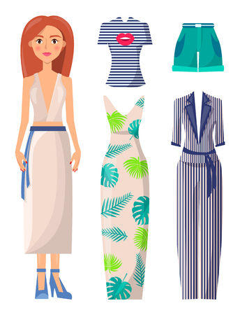 Woman and Clothes Collection Vector Illustration Illustration