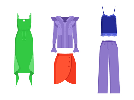 Set of mode clothing isolated on white backdrop, vector illustration with green dress with waving elements, lilac shirt and trousers, mode red skirt Illustration