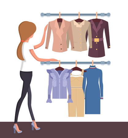 Pretty woman in vogue boutique, colorful poster, customer looking on vogue collection with dress, suit and jacket, cute shirts, vector illustration Illustration