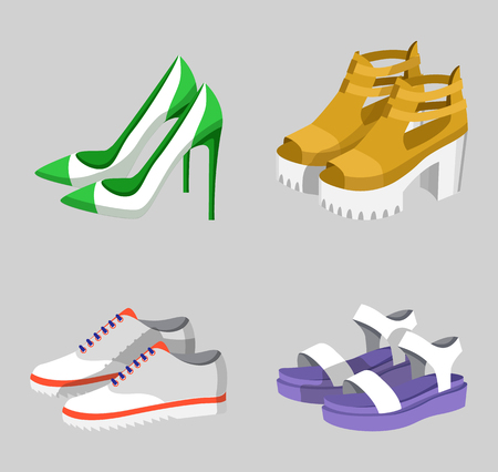 Summer mode shoe collection, set of pairs of footwears with heels and on platforms, fashion for women, vector illustration isolated on grey background Archivio Fotografico - 104173801