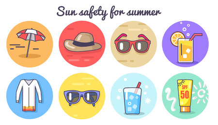 Sun Safety for Summer Poster Vector Illustration