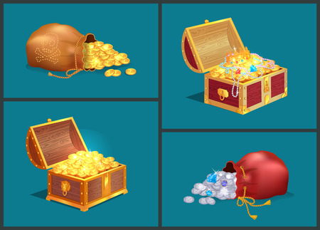 Bags with shiny coins and wooden chests of ancient treasures. Expensive diamonds, old jewelry and metal money in containers vector illustrations.