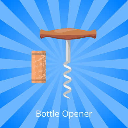 Bottle opener corkscrew and cork vector illustration isolated on background with rays. Wooden cork, steel spiral corkscrew with handle opening equipment