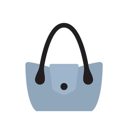 Blue women handbag with metal decorative element vector illustration isolated on white. Fashionable elegant bag female accessory, modern stylish purse