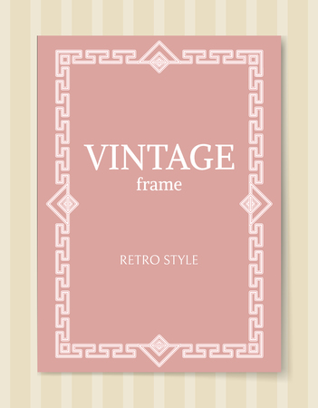 Vintage frame retro style decorative border with triangles and curved elements in pink and white colors, retro border isolated baroque photo frame Illustration