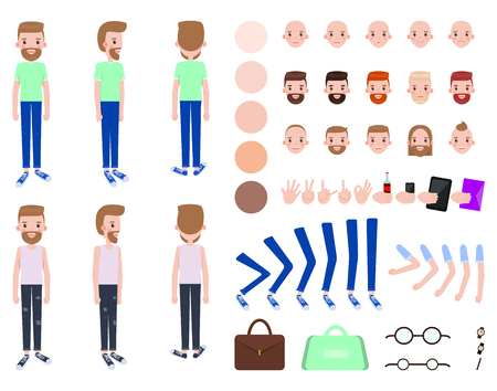 Character constructor male, person and set of faces skin color, bags and watch, collection character constructor vector illustration isolated on white Illustration