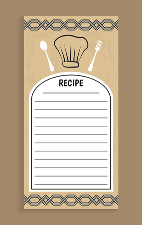 Recipe note and knife fork, recipe and empty lines to write information, ornaments and hat of chef, headline vector illustration isolated on brown Vettoriali