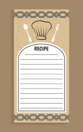 Note de recette et fourchette de couteau, recette et lignes vides pour écrire des informations, des ornements et un chapeau de chef, illustration vectorielle de titre isolé sur brun