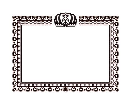 Vintage Rectangular Frame with Crown on Top Illustration