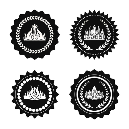 Crowns collection circles, crowns of unusual design with laurel branches, icons and silhouettes vector illustration, isolated on white background