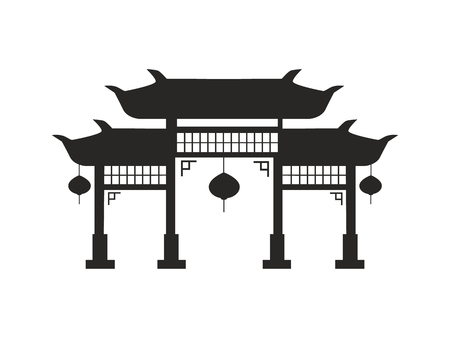 Chinese arches with round lanterns black silhouette. Arches in traditional oriental architecture style shadow isolated cartoon vector illustration.