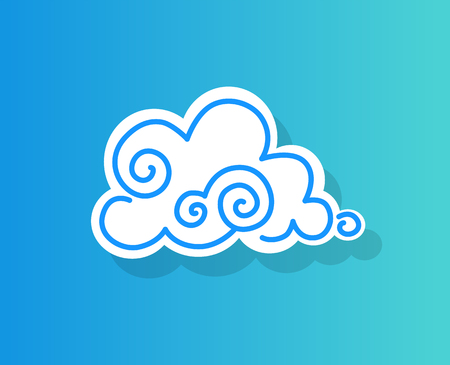Small white fluffy light cloud in clear blue sky. Soft little cloud with curls. Part of sky with slight precipitation cartoon vector illustration.