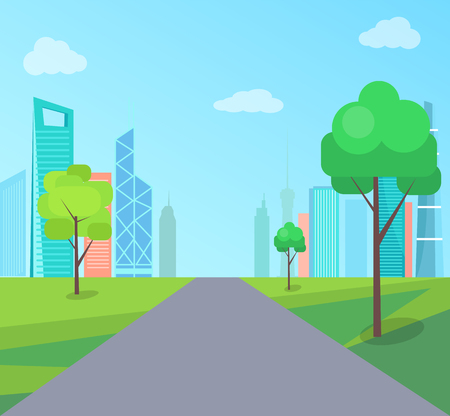 Green park in modern city with asphalt road. Long road through park with young trees. Nature and city center with skyscrapers vector illustration. Çizim