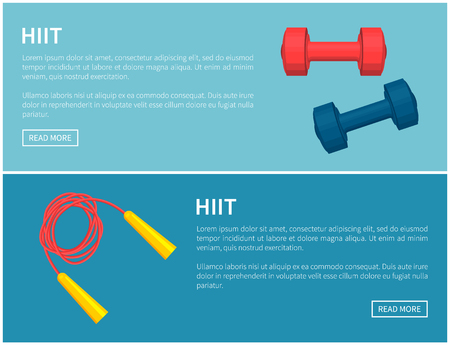 Hiit skipping rope and dumbbells pair color card, blue and red barbells, red twisted jumping rope with yellow handles, text sample vector illustration