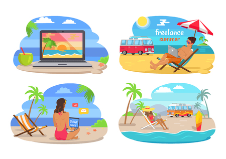 Freelance summer collection with people doing job using laptop, beach and seaside, freelance and distant work vector illustration isolated on white Çizim