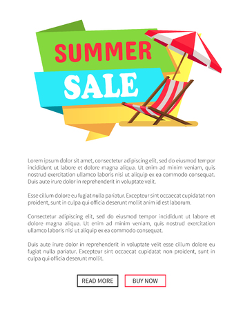 Summer sale label with sunbed chaise lounge and striped umbrella vector web poster design with push buttons read more and buy now. Promo sale banner