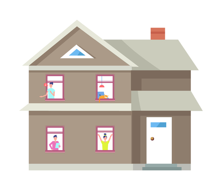 Two Storey House People in Windows Vector Building Illustration
