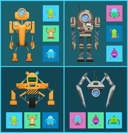 Futuristic cyborgs set, artificial intelligence, vector illustrations isolated on dark backdrops, humanoid robots, smart machines, round robot s lens