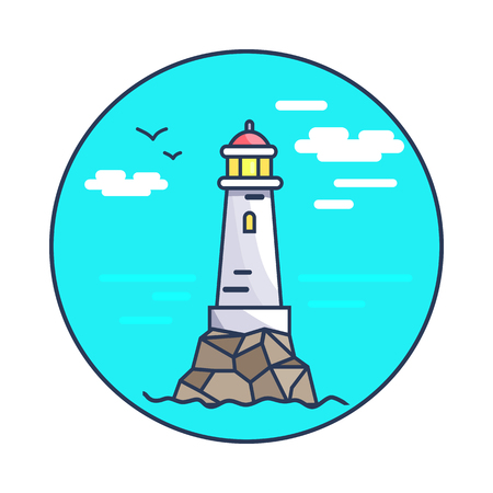 Beacon and rocks, circled icon, lighthouse and flying birds, sky and clouds, seawater and beacon vector illustration isolated on white background Illustration