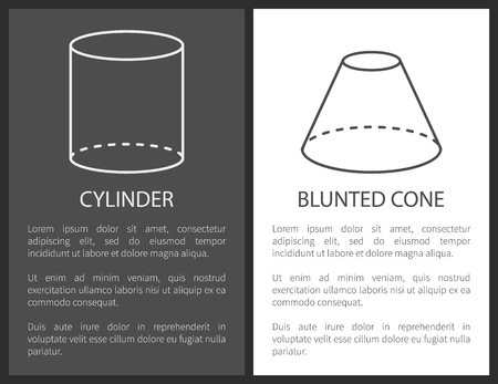 Cylinder and blunted cone geometric shapes simple figures sketches made from lines and dashes, blunted cone and cylinder projections vector set