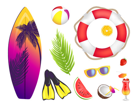 Summer elements collection, surfboard and palm leaf, lifebuoy and cocktail, cocktail and sunglasses, summer, vector illustration isolated on white