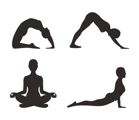 Yoga Set of Poses Silhouette Vector Illustration