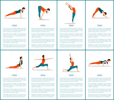 Yoga postures set, sporty woman, color banner, vector illustration, text sample, plank and warrior, moon and chaturanga, up and downward dog postures