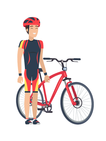 Bicycle and man wearing costume and helmet with smile on his face, cyclist full of emotions, bike of red color, vector illustration isolated on white