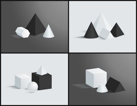 Four Vector Illustration with Geometric Prisms Set