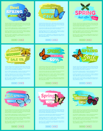 Sale spring discount labels on online poster butterflies with dots, ornaments and antenna, morpho springtime creatures vector promo label sale concept Illustration