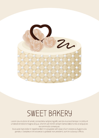 Beautiful sweet bakery white pie banner vector illustration of cylindrical tart with cute roses and chocolate heart on top, many bright pins, sweety glaze ribbon Illustration