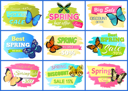 Best spring sale posters set, collection of banners with butterflies and headlines, discount offer and sale vector illustration isolated on white