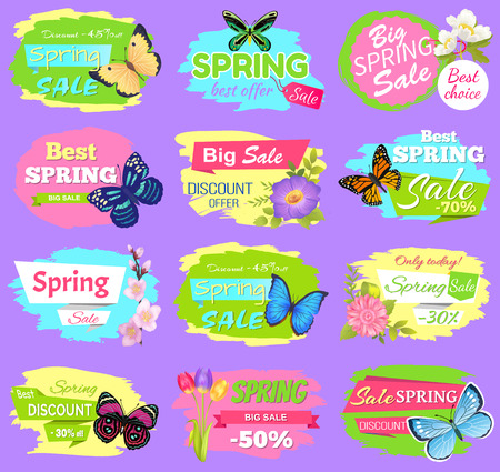 Discount spring sale collection of poster with titles and flowers butterflies and tulips spring sale and discounts set isolated on vector illustration Illustration