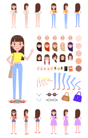 Female character constructor with spare parts set. Girl with spare hairstyles, body parts templates and summer outfits isolated vector illustrations. Ilustração