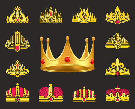 Shiny luxurious crowns of gold with gemstones set. Heraldic headdress for royal family. Gold crowns ornate with precious stones vector illustrations. 向量圖像