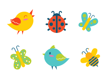 Creatures collection birds and ladybug, bee and butterflies, with colorful wings. creatures set, vector illustration isolated on white background Çizim