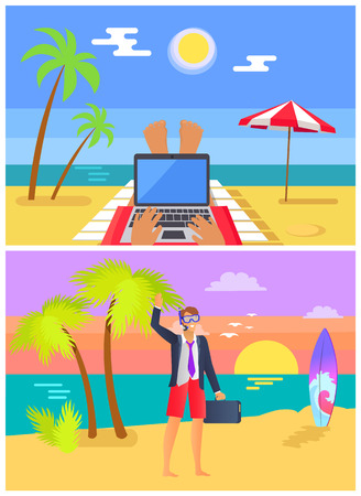 Freelancers work at beaches in summer set. Person with laptop near sea and man half in suit half in swimming trunks on beach vector illustrations. Ilustrace