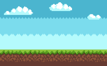 Landscape pixel art style blue sky, white clouds, green grass on ground vector illustration game interface design in 2D design, scenery of environment Illustration