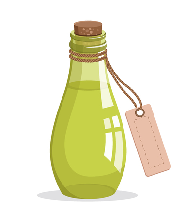 Bottle with cork and tag, aromatic oil in glass bottle with piece of paper, essence made of herbs, herbs and oil vector illustration isolated on white
