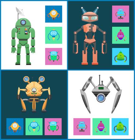 Start Set Robots Collection Vector Illustration