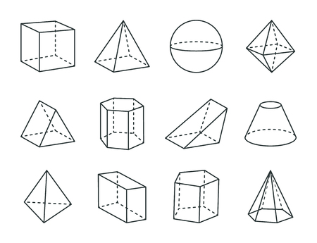 Geometric Prism Set, Varied Forms Figures Drawing Ilustração