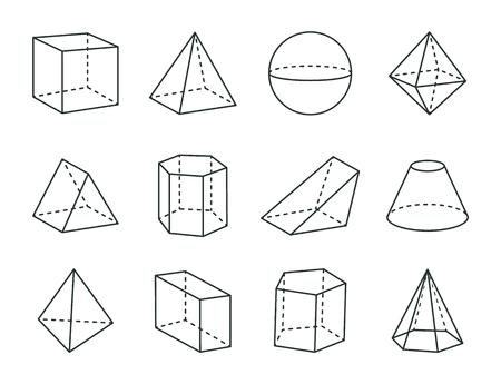 Geometric Prism Set, Varied Forms Figures Drawing Illustration