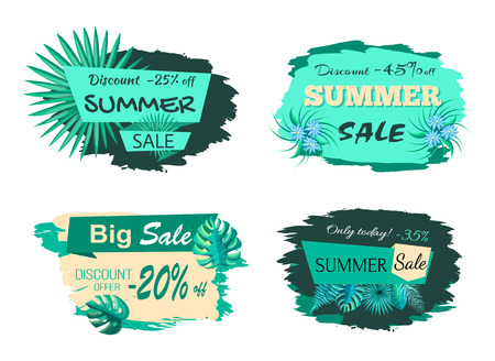 Summer sale collection poster with titles and leaves of different types, summer discount and sale, vector illustration isolated on white background