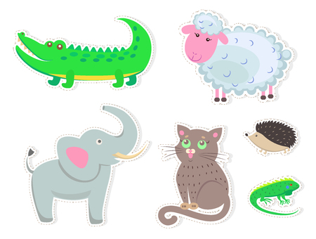 Funny cartoon animals isolated on white background. Big crocodile, white sheep, fluffy cat, small hedgehog, green lizard and friendly elephant vector illustrations. Cute quadruped friends stickers.