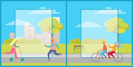 Set of two posters with people riding bike and kick scooter. Vector illustration with people doing sport in city park with frames for text in center Çizim