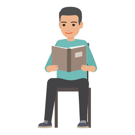 Young man reading textbook. Brunette male student seating on chair with book in hands flat vector isolated on white background. Enthusiastic reader illustration for educational and hobby concepts