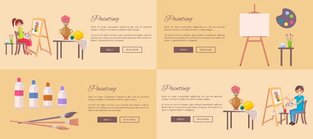 Painting set of banners with girl and boy drawing still life pictures of fruits and vase, empty earsel with palette, watercolor paints in tubes vector illustrations