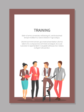 Training poster with business people discussing important things, man sitting on chair and hold papers, colleagues listen to him vector illustration