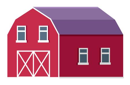 Granja rural o rancho granero o icono de vector plano estable. Edificio de granja tradicional o estructura para animales que viven o almacenamiento de cosecha. Almacén de madera en la ilustración del rancho